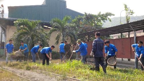 Tại Mặt bằng +17, các đoàn viên thanh niên phát quang bụi rậm, cây cỏ, quét dọn và thu gom rác thải